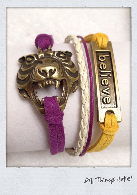 HER JEWELRY IS AWESOME AND SO REASONABLE!!!!------LSU Bronze Tiger Believe Leather/Cotton by AllThingsJolie78