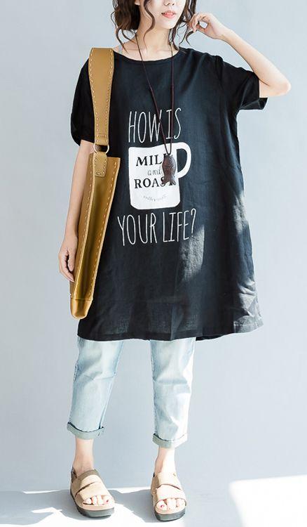 Black oversize print linen blouses linen dresses shirts