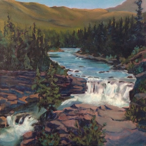 """The Gloaming at Sheep River Fall (oil, 24""""x24"""")  Read more: http://cherylquist.blogspot.com/search?updated-max=2013-04-18T19:33:00-07:00=10#ixzz2TyFjnXDm"""