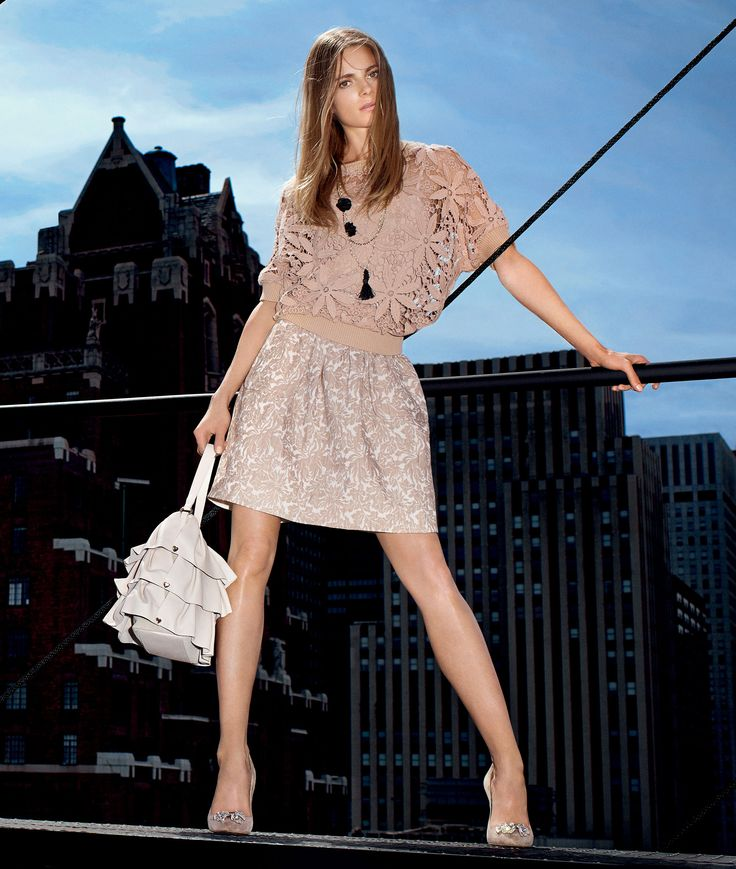 TWIN-SET Simona Barbieri: Macramé pullover with jacquard dress, necklace, frilly bag and bow court shoes
