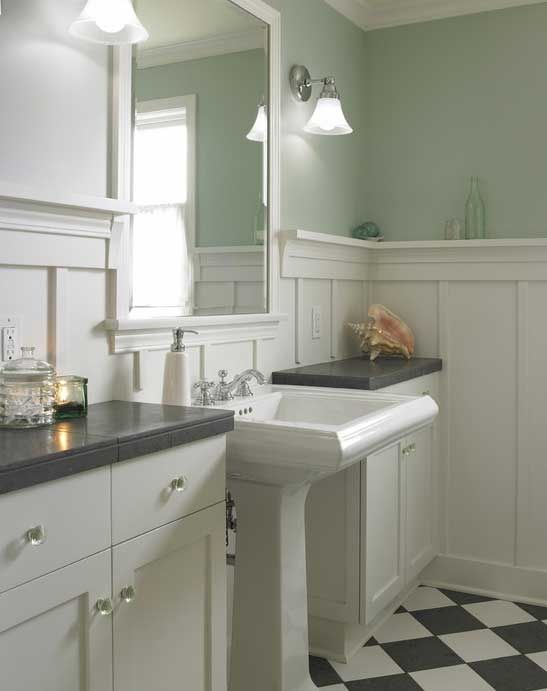 1000 images about bungalow bathrooms on pinterest for Arts and crafts wainscoting