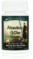 Plum Flower - Abundant Qi Plus Teapills - Shen Qi Wu Wei Zi Wan | Best Chinese Medicines. Abundant Qi Plus teapills is recommended for those with post-partum fatigue, poor apetite and poor digestion.  Abundant Qi Plus Teapills may be used for the following: Postpartum fatigue Poor appetite Digestion