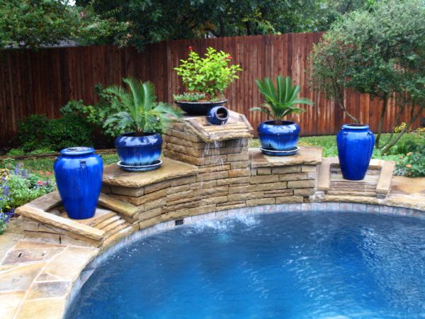 Pool Fountains And Waterfalls | Swimming Pool Fountain Design With  Decorative Pots Colleyville