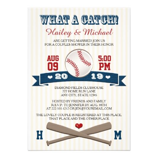 Monogrammed Baseball Couples Wedding Shower Custom Invite