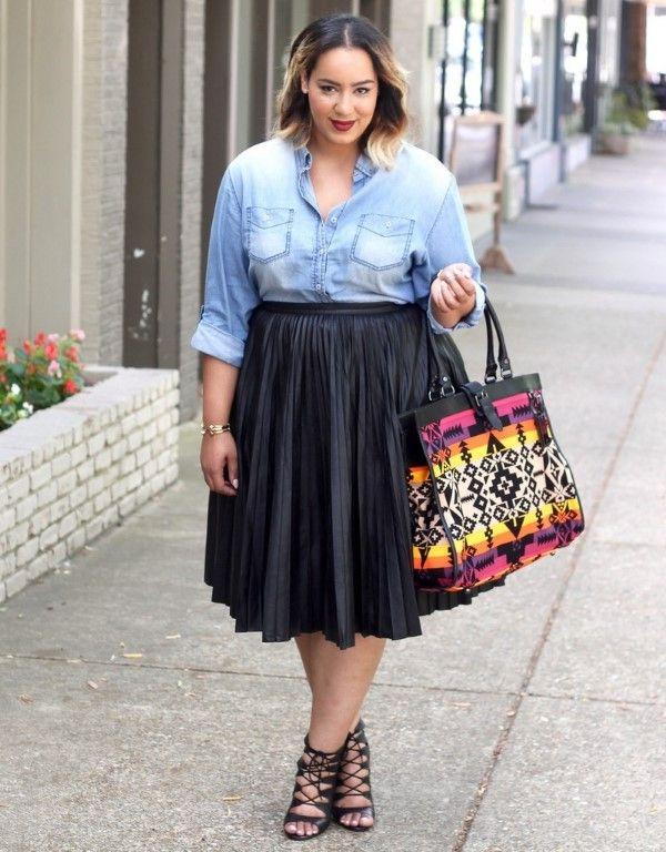 como-usar-saia-plissada | Looks Possiveis in 2019 | Fashion, Pleated skirt outfit, Denim maxi dress