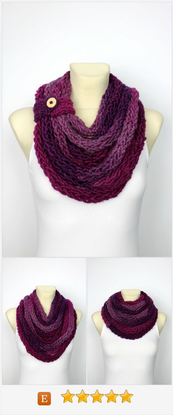 Chunky Chain Scarf - Bulky Knit Scarf - Womens Knit Infinity - Knit Rope Scarf - Knit Scarf Necklace - Finger Knit Scarf - Spaghetti Scarf