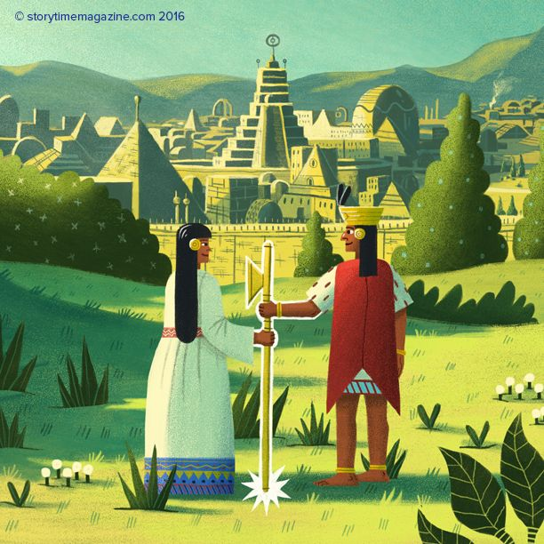 The Golden Staff: a myth about how the Incan empire began. Love these illustrations by Daniel Shaffer (http://www.daniel-shaffer.com) in Storytime Issue 20 ~ STORYTIMEMAGAZINE.COM