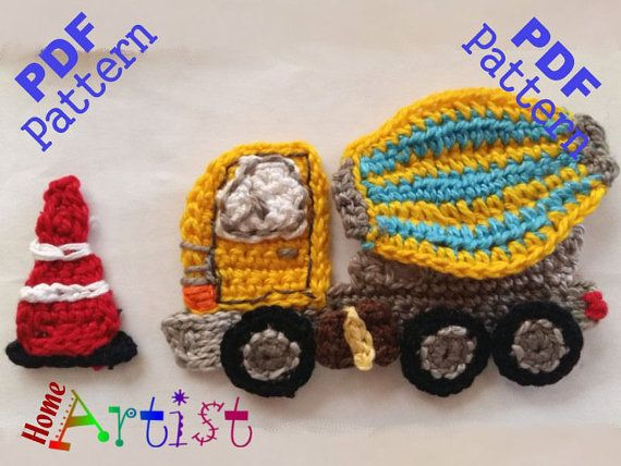 Cement mixer Truck crochet applique pattern  This is an -INSTANT DOWNLOAD…