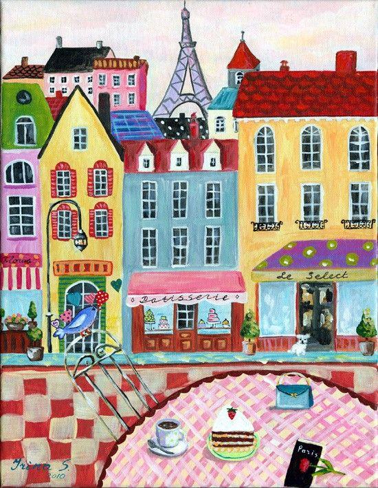 PARIS print of an original painting by irinashop on Etsy