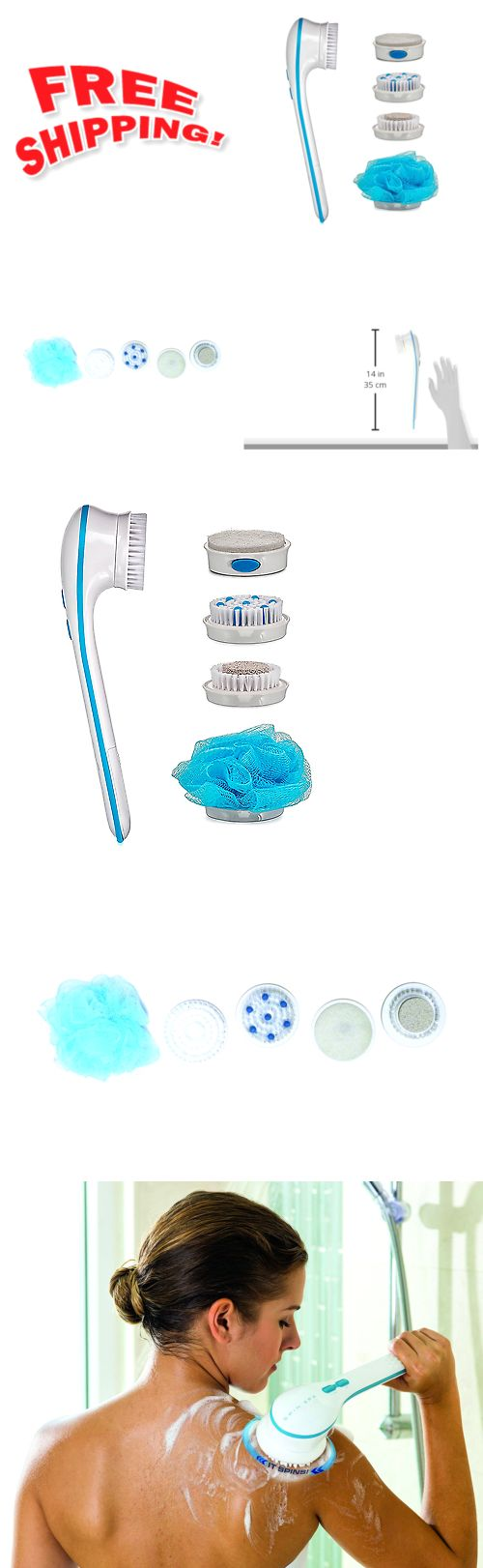 Bath Brushes and Sponges: New Spin Spa Facial And Body Brush Electric Back Shower Scrub Exfoliate Cleansing -> BUY IT NOW ONLY: $62.5 on eBay!
