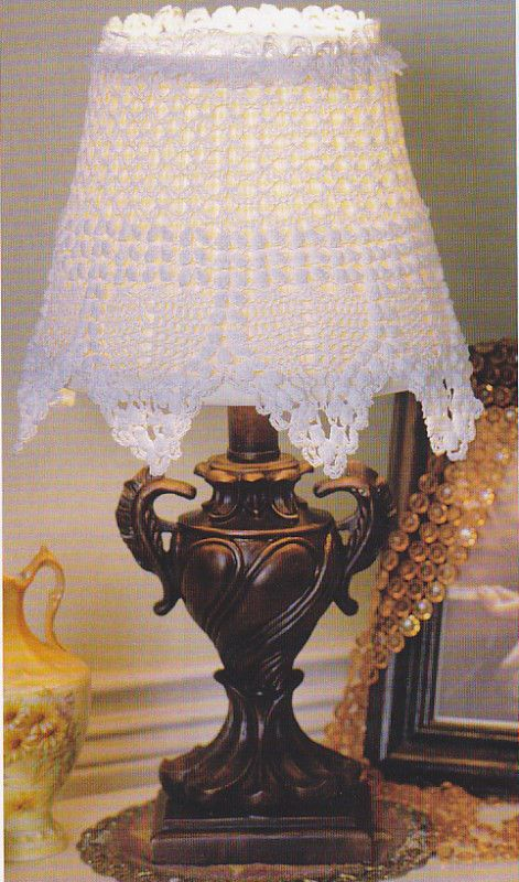 Crochet Pattern ~ LACY LAMP SHADE COVER ~ Instructions