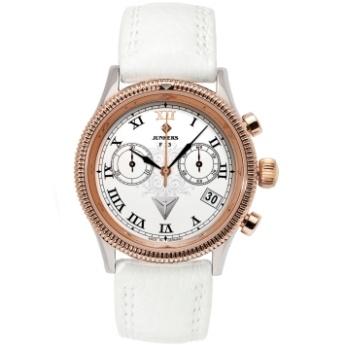 Reloj Junkers Crono de señora, Oro Rosa, Cristal swarovski, Calendario, Tecnología Suiza, Esfera blanca, Correa piel antialérgica blanca. JU6585-5. http://www.tutunca.es/reloj-junkers-cronografo-blanco-oro-rosa