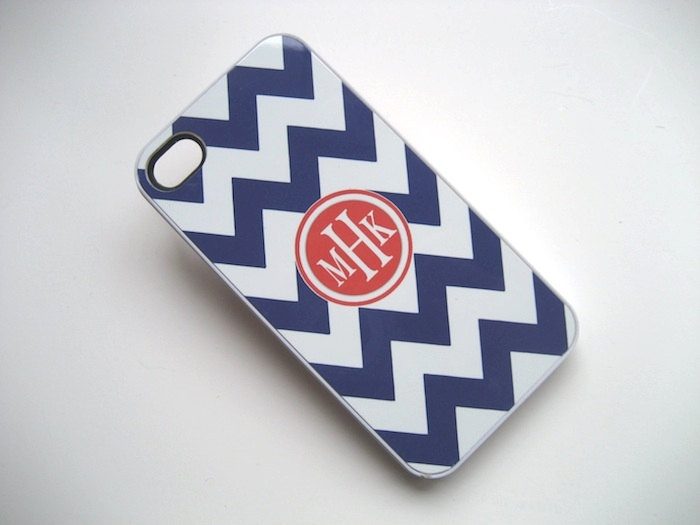 Navy Blue and White Chevron iPhone 4 Case with Tangerine Monogram  - iPhone 4 4S Cover. $15.99, via Etsy.