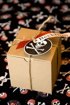 Cute and Easy Pirate Party Goodie Boxes   (could be adapted to any theme by changing Tag and Ribbons)