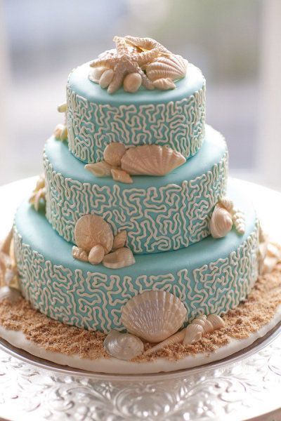 Beach wedding cake.  Forever Amour Bridal