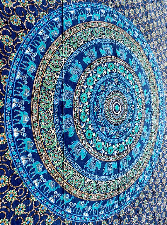 twin cotton tapestry Hippie Wall Hanging Elephant by rangRaizzi