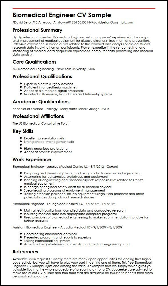 Cv Builder Biomedical Engineer Cv Sample Myperfectcv 51e69af3 Resumesample Resumefor Biomedical Engineering Engineering Resume Resume Examples