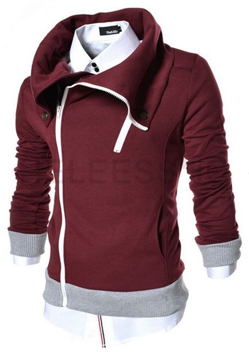 Supersized Collar Hoodie In Wine Red