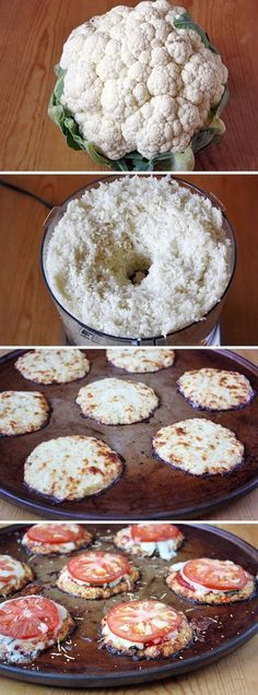 Mini pizza bites: Mini cauliflower pizza bites Mini Cauliflower Pizza Crusts Vegetarian • Gluten free • Serves 12 1 large head cauliflower (about 4 cups shredded) 2 large eggs 3 cups shredded mozzarella cheese 1 teaspoon dried oregano 1 teaspoon dried basil 2 teaspoons garlic powder 1 cup pizza sauce 12 fresh basil leaves 1 tomato, sliced into 12 rounds 1/4 cup finely shredded Parmesan cheese""