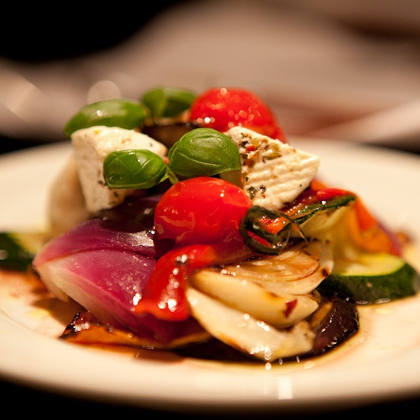 Grilled mediterranean vegetables with tomino cheese.