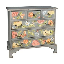 Invite fresh spring style into your home with this eye-catching design, artfully crafted for lasting appeal.        Product: Accent chest    Construction Material: MDF  Color: Gray   Features:   Six drawers    Floral designDimensions: 38.25 H x 39.75 W x 20 D