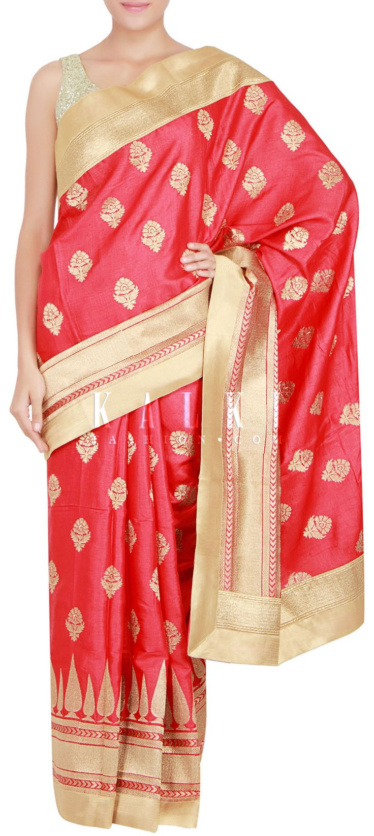 Buy Online from the link below. We ship worldwide (Free Shipping over US$100) http://www.kalkifashion.com/red-saree-in-silk-embellished-with-zari-only-on-kalki.html