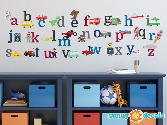 Alphabet Fabric Wall Decals for Boys Repositionable and Reusable, A-Z Wall Stickers, ABC Decals by Sunny Decals - 3 Options