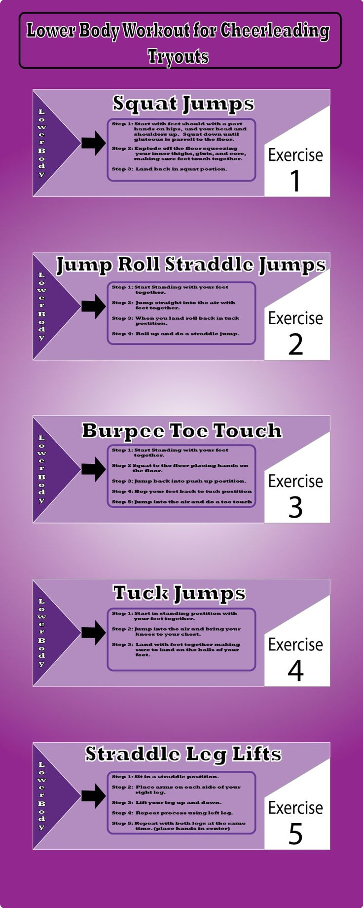 MGA Cheer Extreme- Cheerleading Tryout Tip number 2- Start a conditioning program.  5 exercise to help you improve your leg strength, which will help improve your jumps.