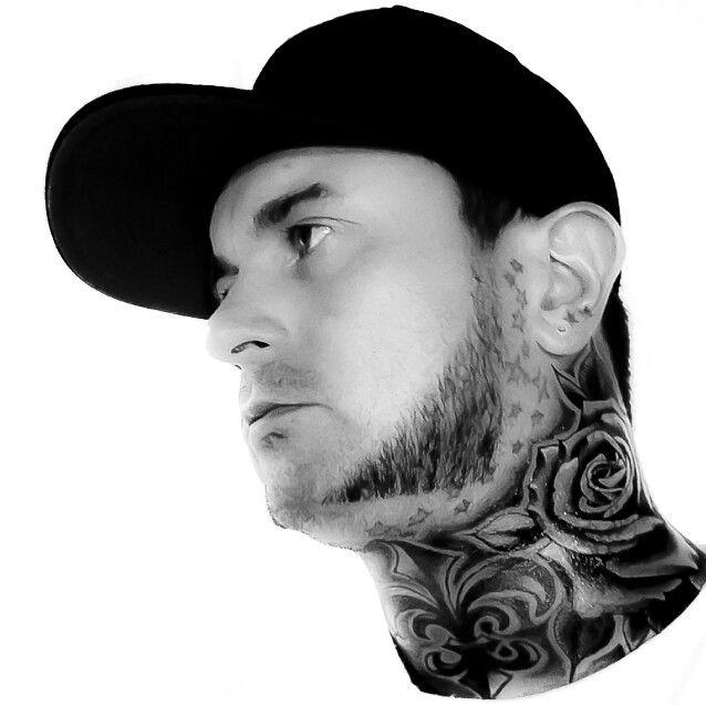 Fleur de lis / rose black neck tattoo