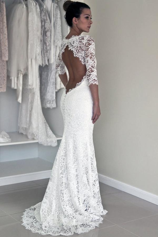 162ee2bb2a5 Elegant White Lace Backless Mermaid 1 2 Sleeve Wedding Dresses ...