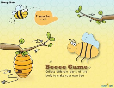 Bee Game, craftivity from BrightNRite from BrightNRite on TeachersNotebook.com (4 pages)  - Bee Game is a creative craft activity. The child will roll the dice and collect the body parts to assemble a bee. 1,2,3 here comes the bee!