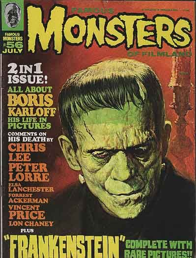 Famous Monsters of Filmland Magazine: Filmland Magazines, Monsters Magazines, Frankenstein Monsters, Boris Karloff, Comic Book, Famous Monsters, Classic Monsters, Magazines Covers, Monsters Horror