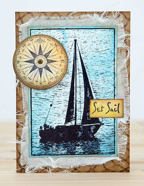 Card by Rachel Greig using Darkroom Door Sailboat Photo Stamp, Fishing Net Background Stamp and Sail Away Rubber Stamp Set.