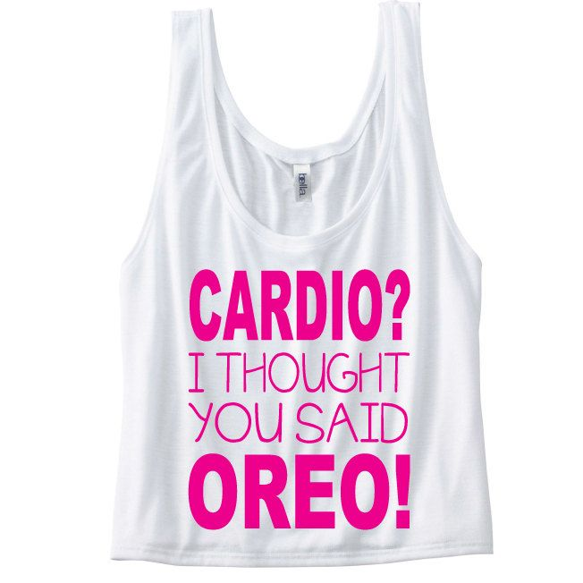 Cardio? I thought you said Oreo! Funny Gym Tank Top. Workout Tank. Yoga Tank, Gym Vest. Funny workout slogan. Funny Cardio Slogan Top by SoPinkUK on Etsy