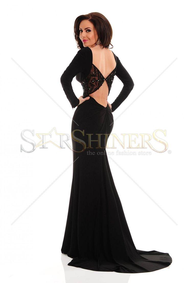 Rochie Sherri Hill 32121 Black. Rochie eleganta Sherri Hill luna, cu spatele decupat si maneci lungi. Alege din colectia Rochii Sherri Hill 2015!