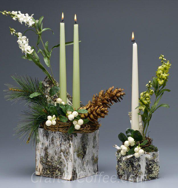 Christmas tablescape ideas with birch bark