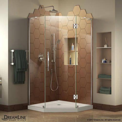 DreamLine Prism Plus 34 in. W x 34 in. D Frameless Shower Enclosure ...