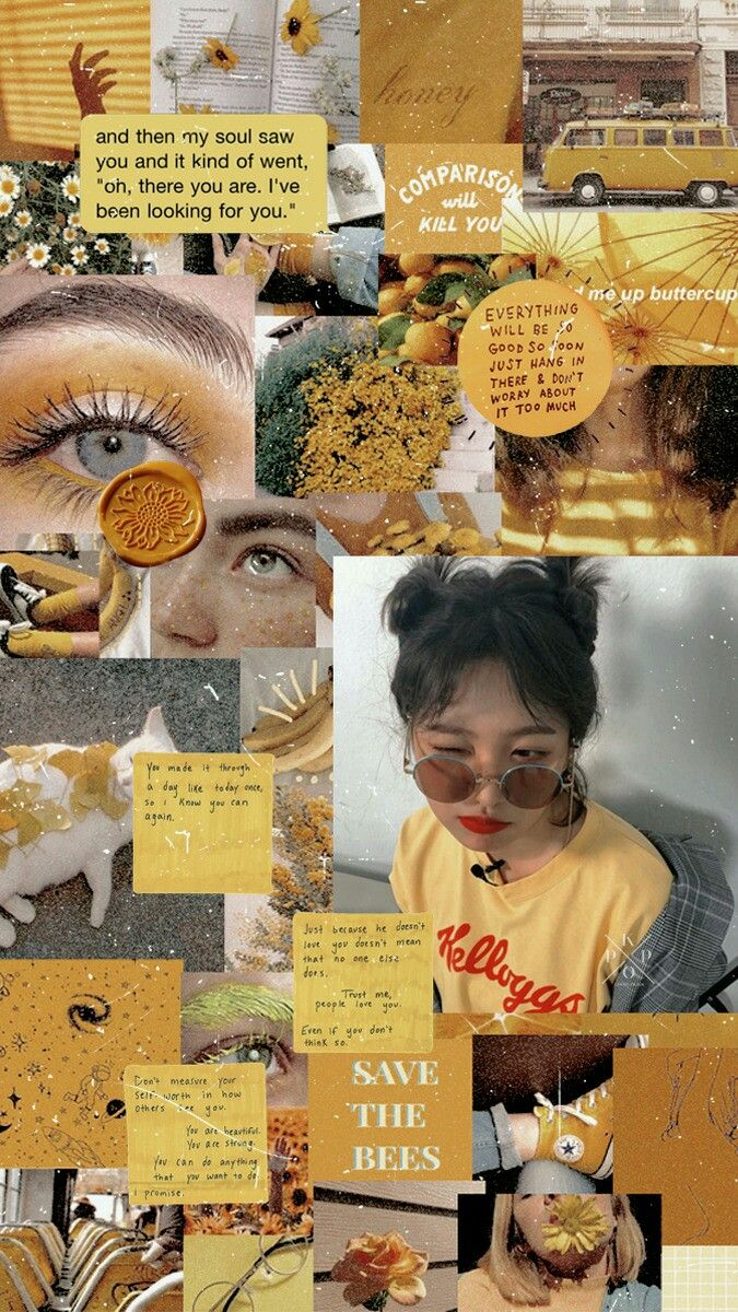 Red velvet Yeri Yellow Aesthetic Collage Wallpaper Lockscreen HD Fondo de pantal...