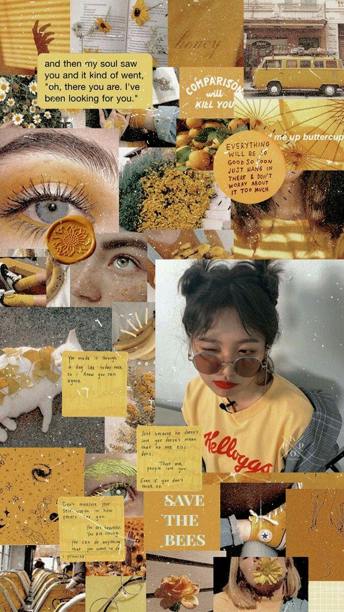 Red velvet Yeri Yellow Aesthetic Collage Wallpaper