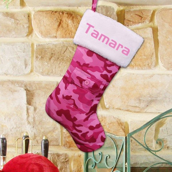 Pink Camo Stocking | Embroidered Pink Camouflage Stocking