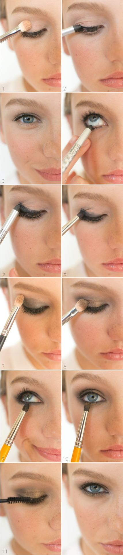 Smoldering Smokey Eyes 1. Prep the whole eyelid and under eye with either a concealer or eyeshadow primer. I used MAC Paint in Bare Canvas.  2. + 3. + 4. +5. Apply a black pencil liner all around your...