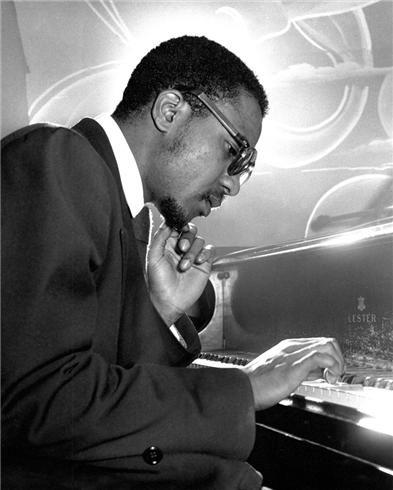 Portrait of jazz musician Thelonious Monk, New York City, New York, United States, 1949, photograph by Herman Leonard.