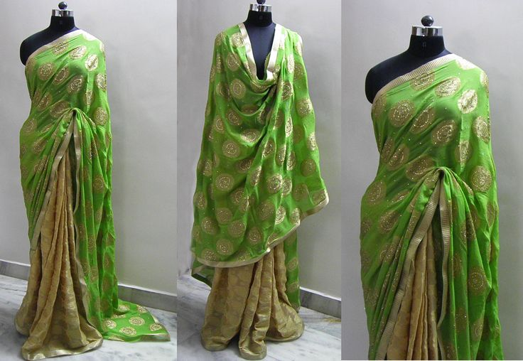 Sari name - Diamond   Banarsi georgette self design jacquard Beige Gold color fabric for pleats and Green georgette fabric with allover diamond circle design work for pallu.  The saree has Gold pati lace allover.   Fits in all ocassion wear.   Blouse - Gold blouse fabric   For booking your saree please Email us with Saree name to sales@aaenadesign.com