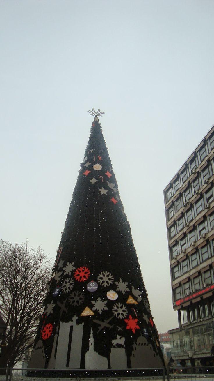 Visitez Belgrade (Виситез Белград) Le sapin dans le centre ville décoré des symboles de la ville de Belgrade