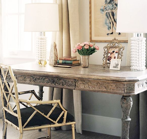 17 Beautifully Feminine Rooms to Get Inspired By// vintage mercury glass lamps: Nate Berkus, Gold Chairs, Desks Chairs, Bamboo Chairs, Offices Spaces, Writing Desk, Work Spaces, Workspaces, Vintage Art