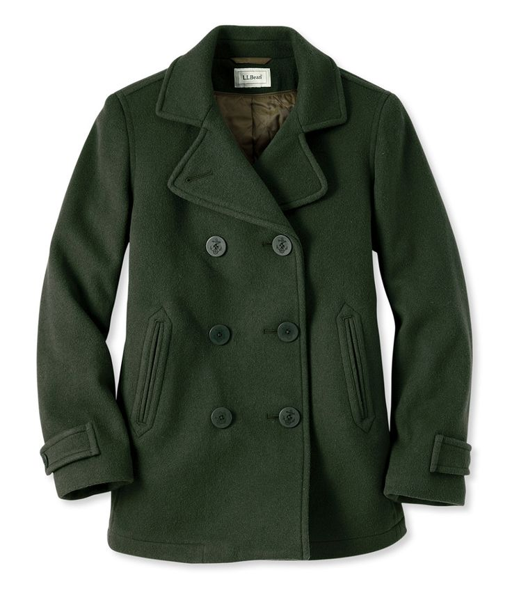 Classic Lambswool Peacoat - in this green color; petite size 4.