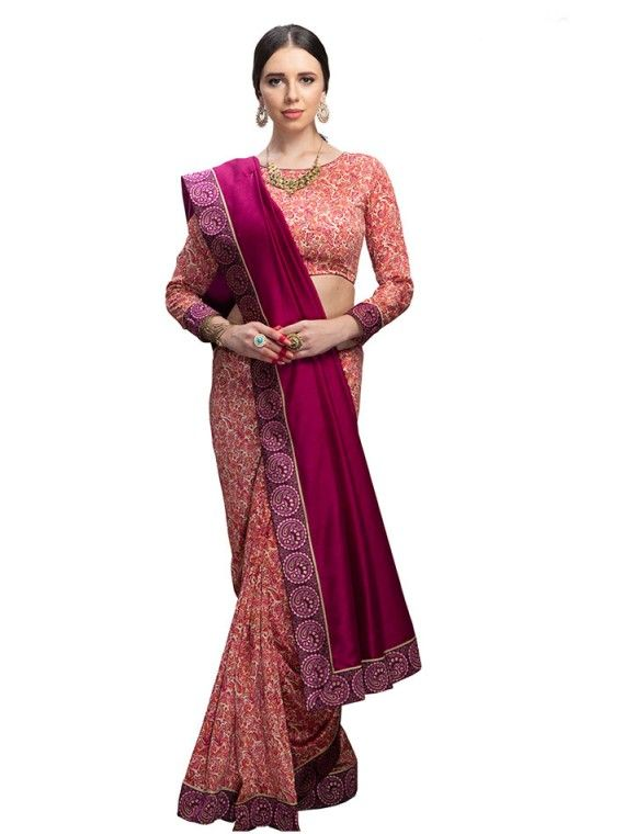 Charming Punch Pink and Peach Floral Printed saree