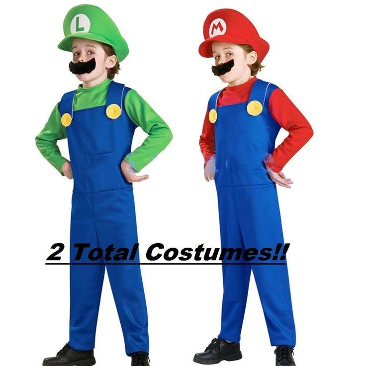 Nintendo Mario & Luigi Costumes Kids Super Mario Bros Brothers Halloween Sz M 8 #Disguise
