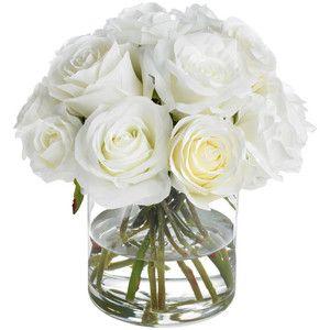 Diane James Classic White Rose Bouquet - Transitional - Artificial Flower Arrangements - by Diane James Home