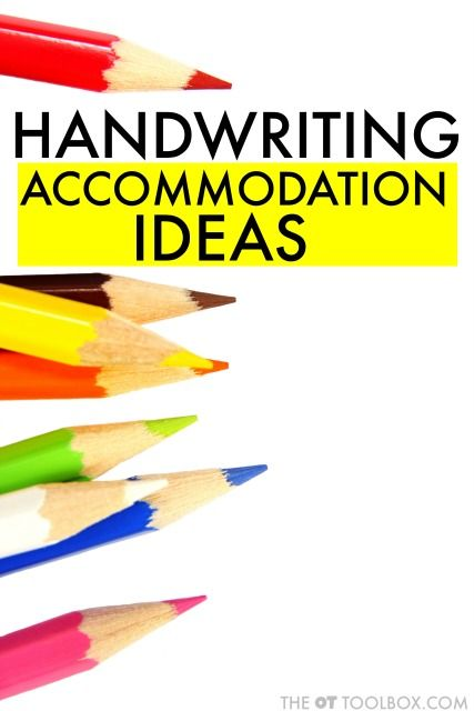 Use these handwriting accommodation ideas to help kids with handwriting difficulties to write more legibly using alternate ideas that change how a student completes written work based on their needs.